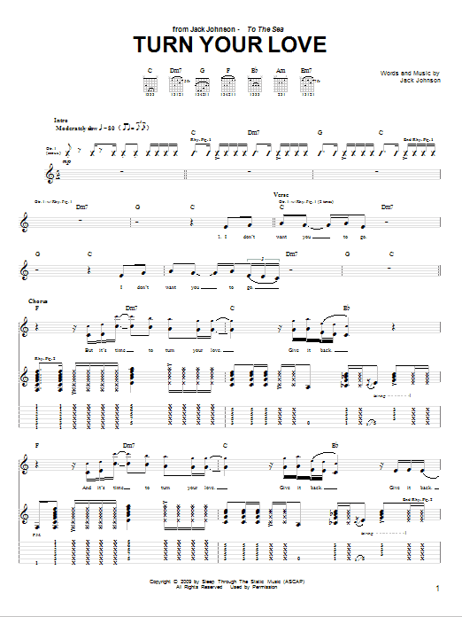 Tablature guitare Turn Your Love de Jack Johnson - Tablature Guitare