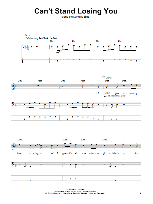 Tablature guitare Can't Stand Losing You de The Police - Tablature Basse