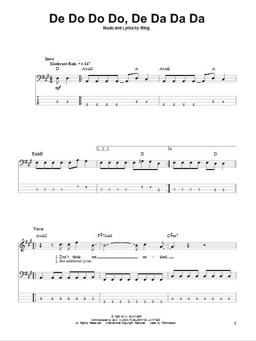 Tablature guitare De Do Do Do, De Da Da Da de The Police - Tablature Basse