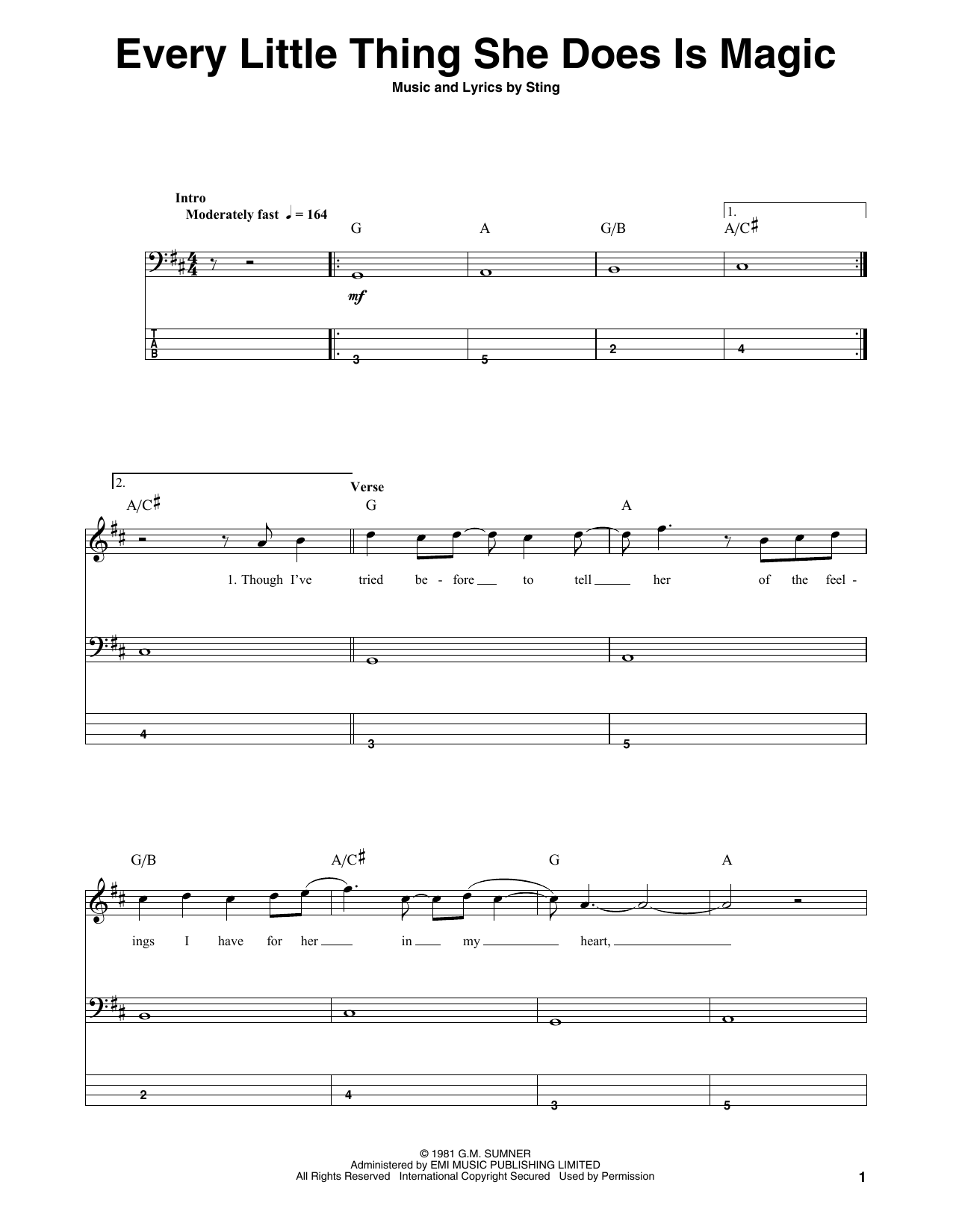 Every Little Thing She Does Is Magic (Bass Guitar Tab)