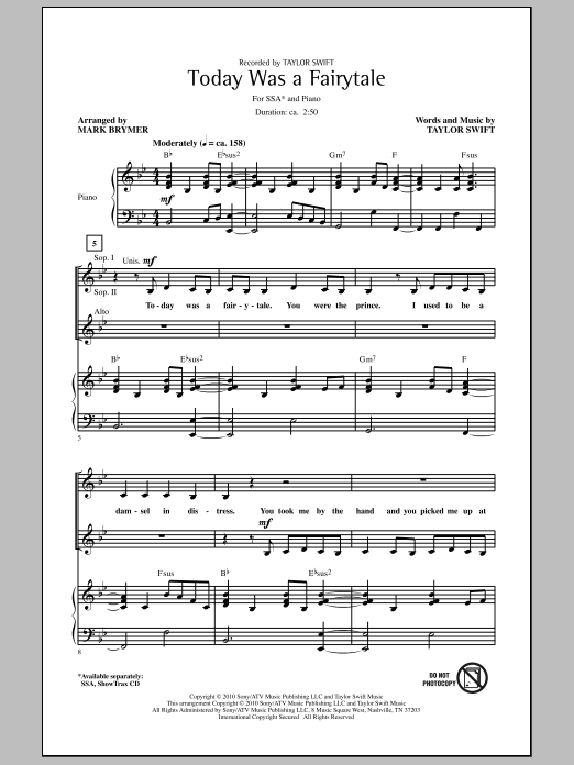 Today Was A Fairytale Sheet Music