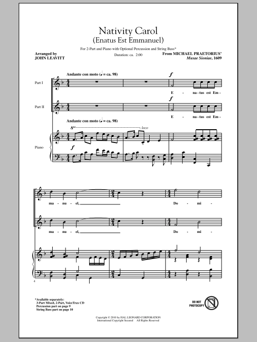 Nativity Carol (Enatus Est Emmanuel) Sheet Music