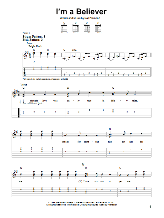 Tablature guitare I'm A Believer de The Monkees - Tablature guitare facile