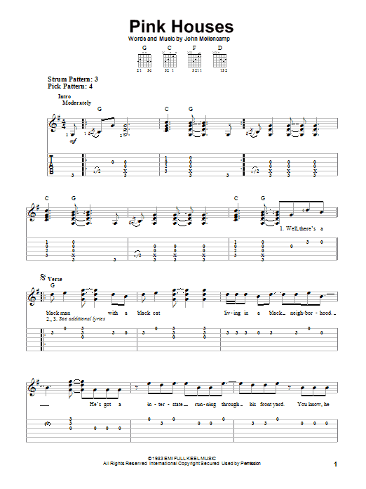 Tablature guitare Pink Houses de John Mellencamp - Tablature guitare facile