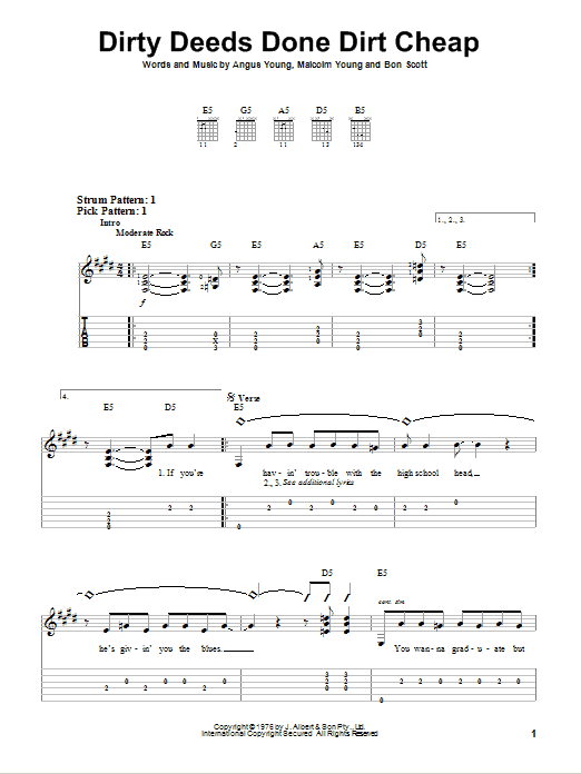 Dirty Deeds Done Dirt Cheap sheet music by AC/DC (Easy Guitar Tab u2013 75672)