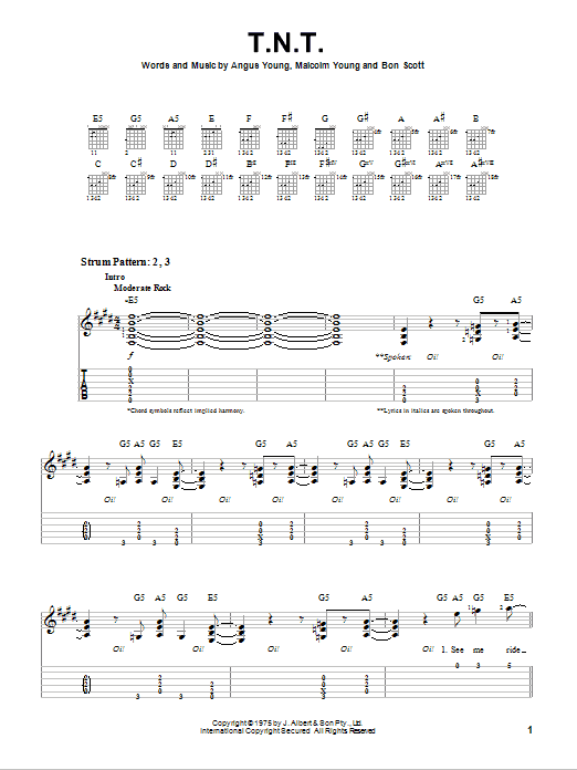 Tablature guitare T.N.T. de AC/DC - Tablature guitare facile