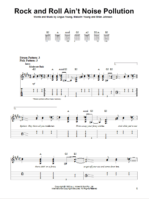 Tablature guitare Rock And Roll Ain't Noise Pollution de AC/DC - Tablature guitare facile