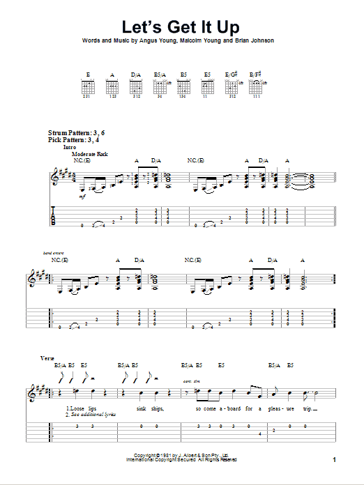 Let's Get It Up (Easy Guitar Tab)