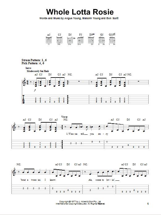 Whole Lotta Rosie (Easy Guitar Tab)