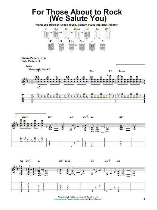 Tablature guitare For Those About To Rock (We Salute You) de AC/DC - Tablature guitare facile