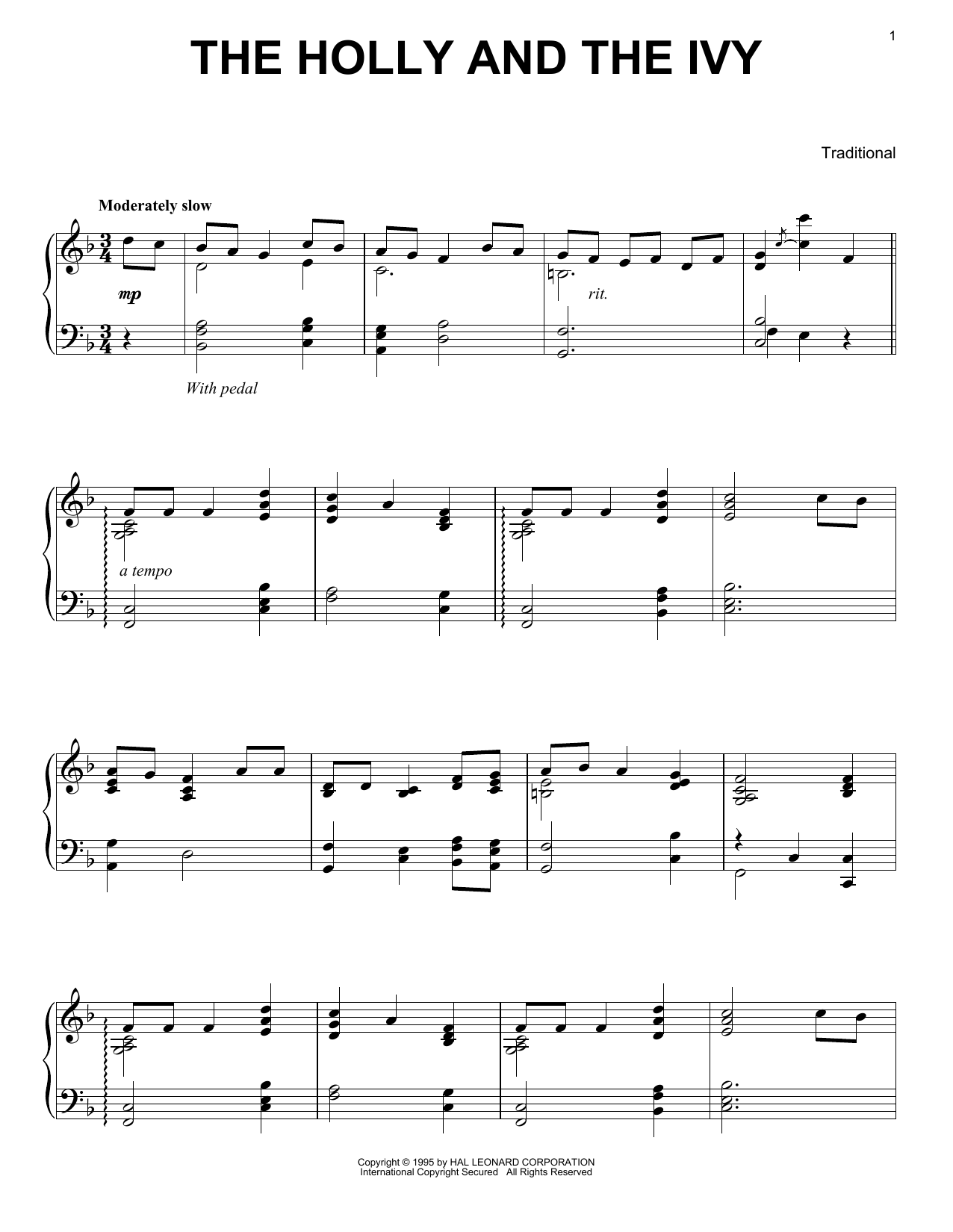 Partition piano The Holly And The Ivy de Traditional - Piano Solo