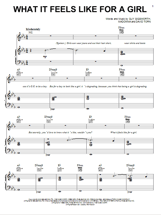 What It Feels Like For A Girl Sheet Music