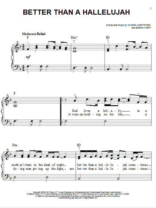 Better Than A Hallelujah (Easy Piano)