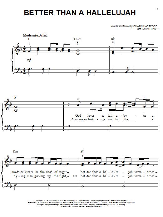 Partition piano Better Than A Hallelujah de Amy Grant - Piano Facile