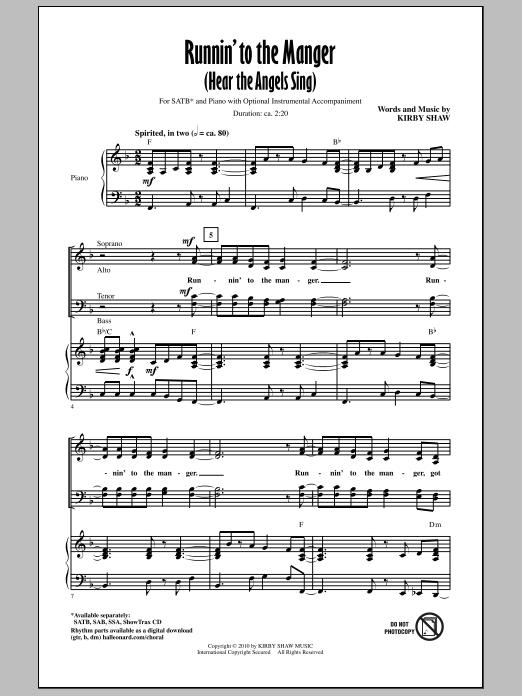 Runnin' To The Manger (Hear The Angels Sing) Sheet Music