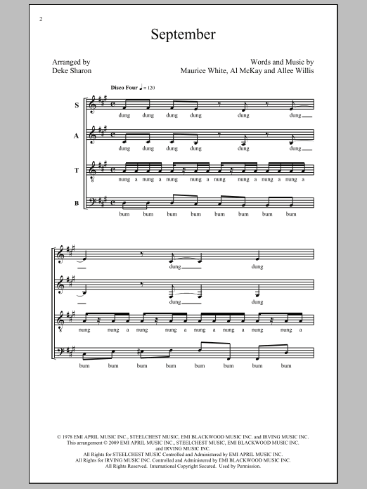 Partition chorale September de Wind & Fire Earth - SATB