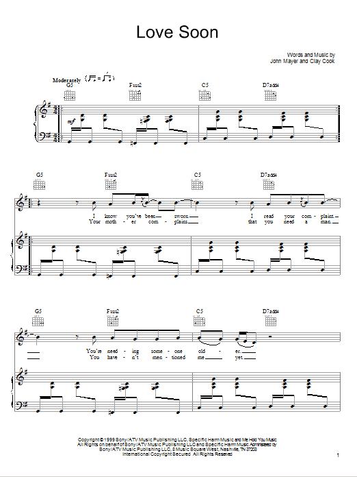 Partition piano Love Soon de John Mayer - Piano Voix Guitare (Mélodie Main Droite)