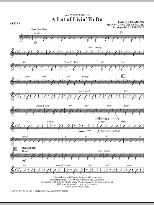 A Lot Of Livin' To Do - Guitar (Choir Instrumental Pak)