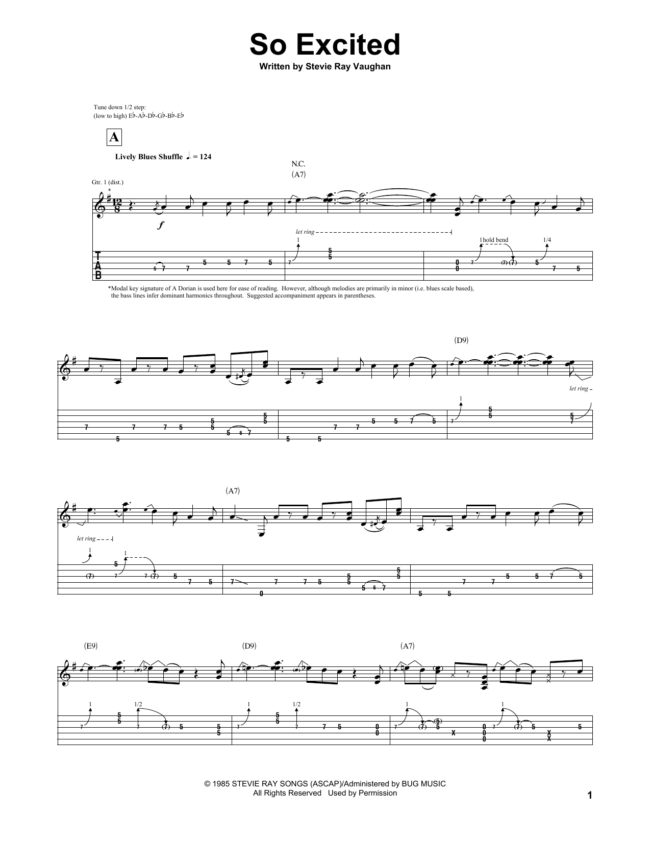Tablature guitare So Excited de Stevie Ray Vaughan - Tablature Guitare
