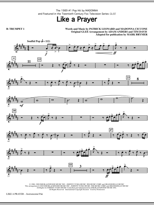 Like A Prayer (complete set of parts) sheet music for orchestra/band (chamber ensemble) by Madonna, Patrick Leonard, Glee Cast, Mark Brymer and Miscellaneous. Score Image Preview.
