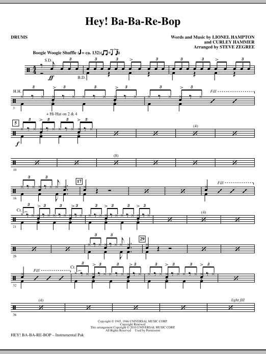 Hey! Ba-Ba-Re-Bop - Drums Sheet Music