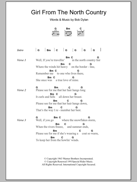 Girl From The North Country | Sheet Music Direct