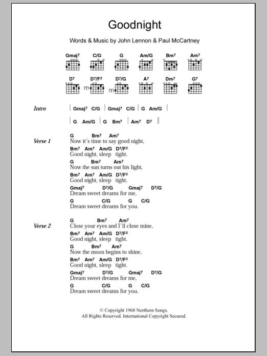 Goodnight By The Beatles Guitar Chordslyrics Guitar Instructor