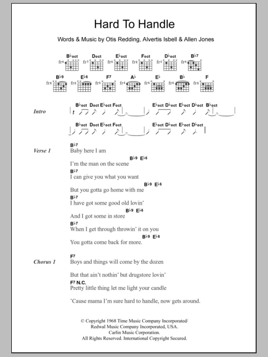 Hard To Handle by Otis Redding - Guitar Chords/Lyrics - Guitar ...