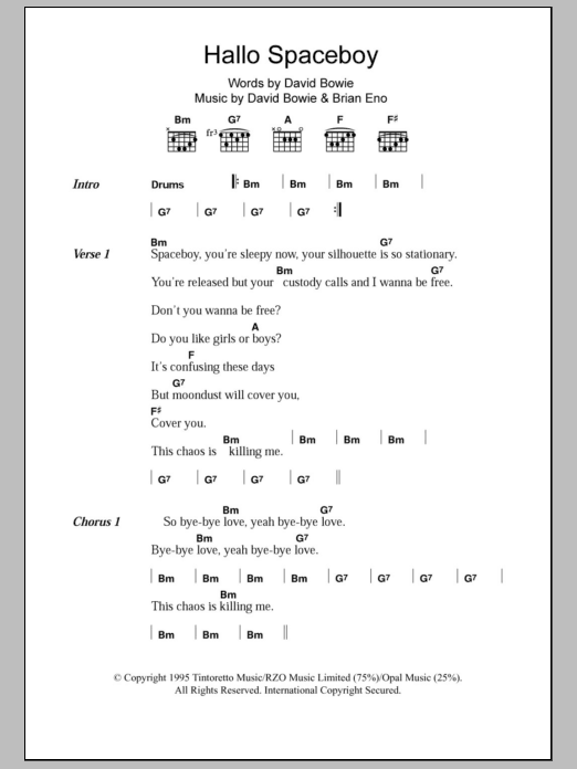 Hallo Spaceboy Sheet Music