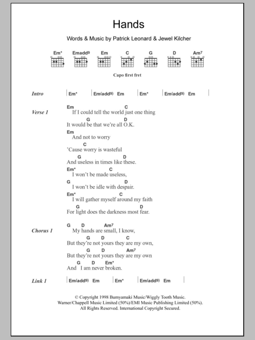 Hands By Jewel Guitar Chordslyrics Guitar Instructor
