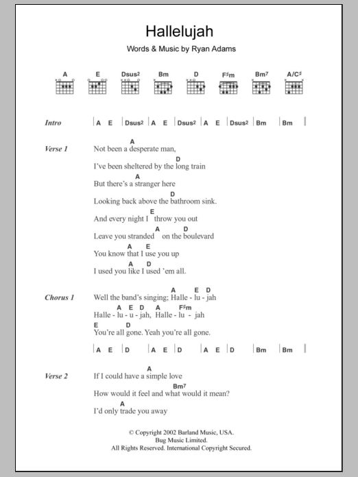 Guitar guitar tablature with lyrics : Hallelujah by Ryan Adams - Guitar Chords/Lyrics - Guitar Instructor