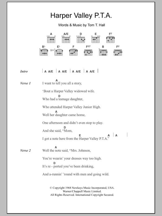 Harper Valley P.T.A. Sheet Music