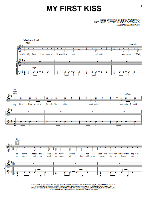 My First Kiss (feat. Ke$ha) Sheet Music