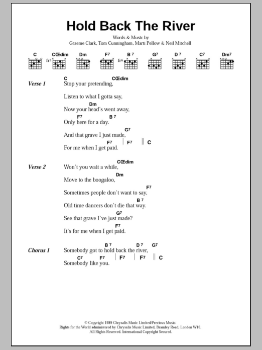 Hold Back The River Sheet Music To Download