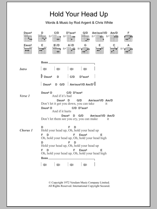 Hold Your Head Up Sheet Music