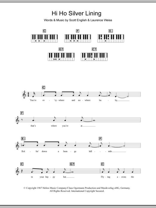 Hi Ho Silver Lining (Piano Chords/Lyrics)