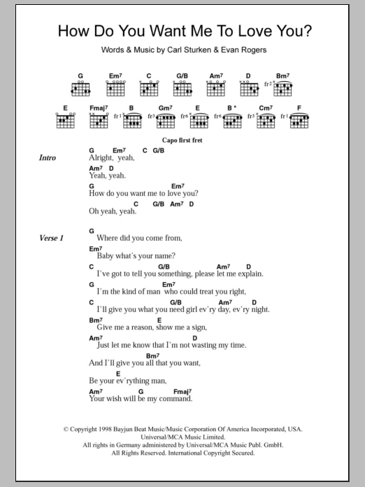 How Do You Want Me To Love You? by 911 - Guitar Chords/Lyrics ...