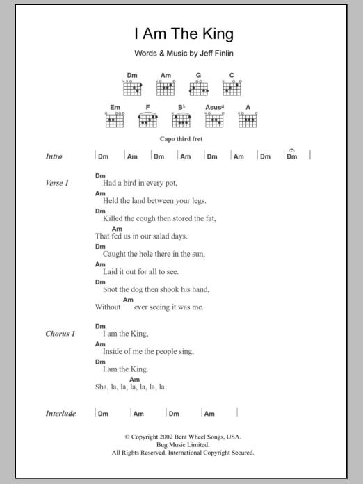 I Am The King Sheet Music