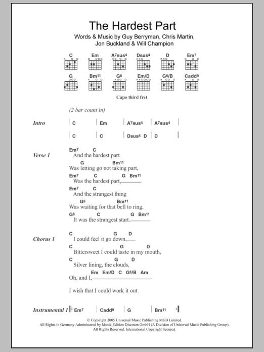 The Hardest Part Sheet Music