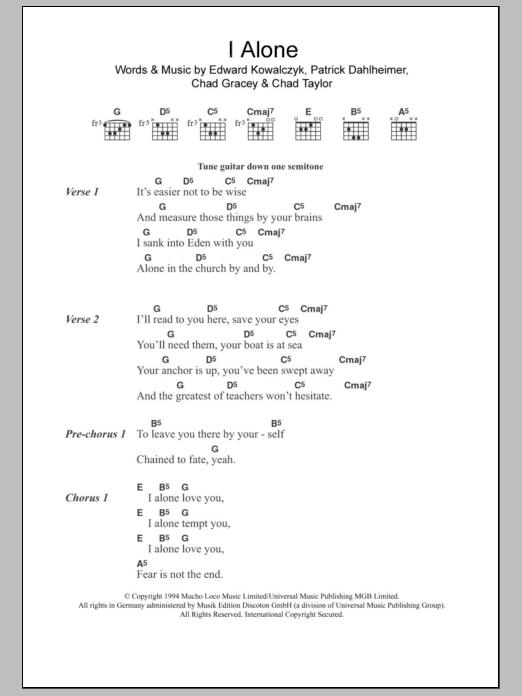 I Alone By Live Guitar Chordslyrics Guitar Instructor