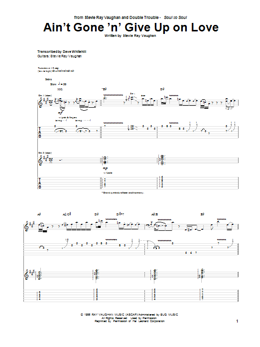 Tablature guitare Ain't Gone 'n' Give Up On Love de Stevie Ray Vaughan - Tablature Guitare