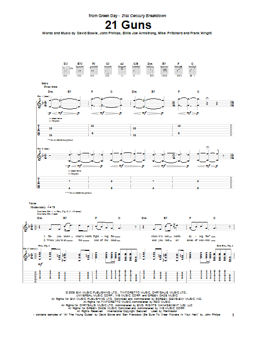 Tablature guitare 21 Guns de Green Day - Tablature Guitare