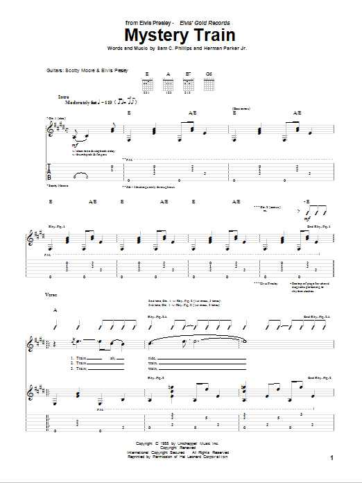 Mystery Train Guitar Tab by Elvis Presley (Guitar Tab – 75484)