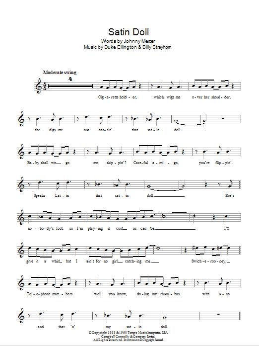 Satin Doll Sheet Music Duke Ellington Melody Line Lyrics Chords