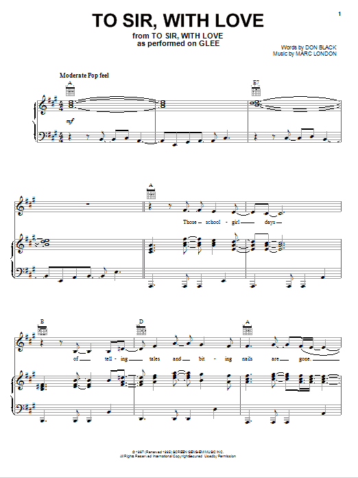 To Sir, With Love Sheet Music