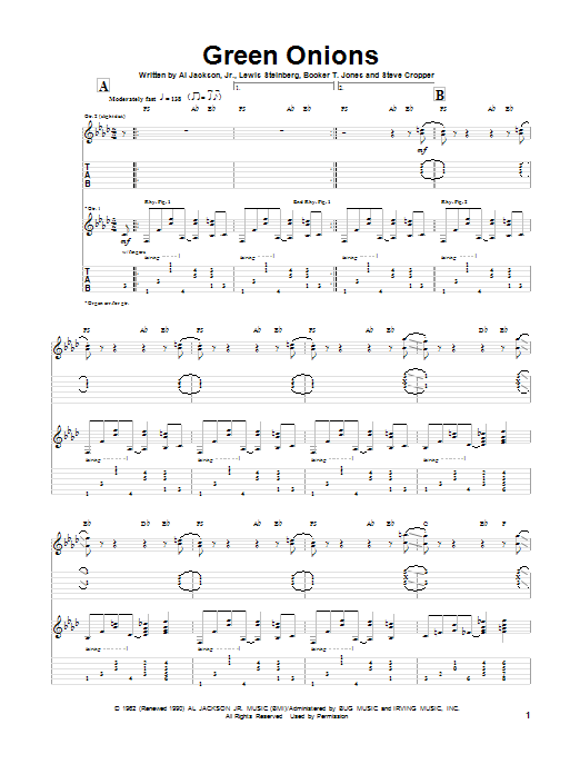 Green Onions (Guitar Tab)