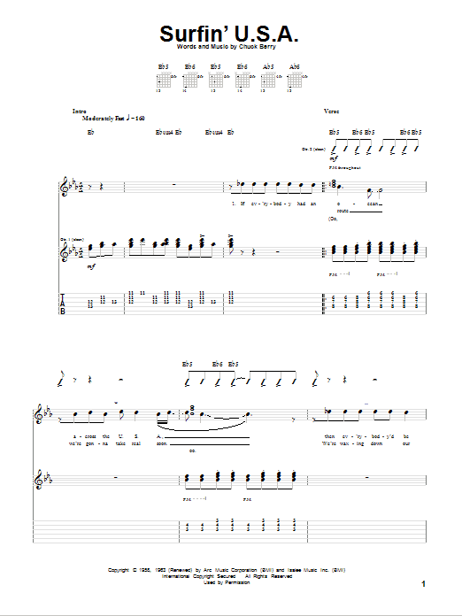 Tablature guitare Surfin' U.S.A. de The Beach Boys - Tablature Guitare