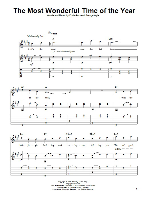 Tablature guitare The Most Wonderful Time Of The Year de Andy Williams - Tablature Guitare