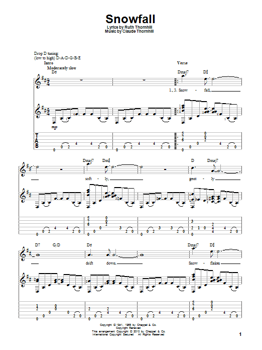Tablature guitare Snowfall de Tony Bennett - Tablature Guitare