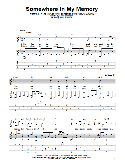 Tablature guitare Somewhere In My Memory de Bette Midler - Tablature Guitare